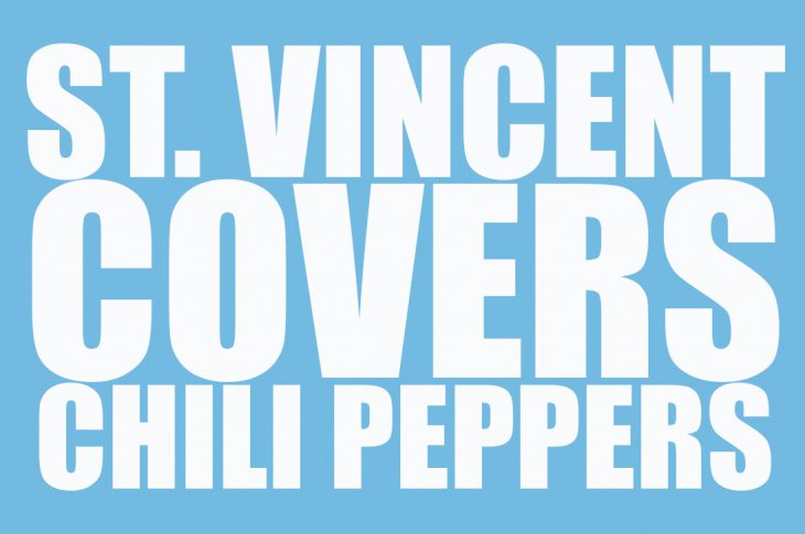 saint vincent covers chili peppers text graphic