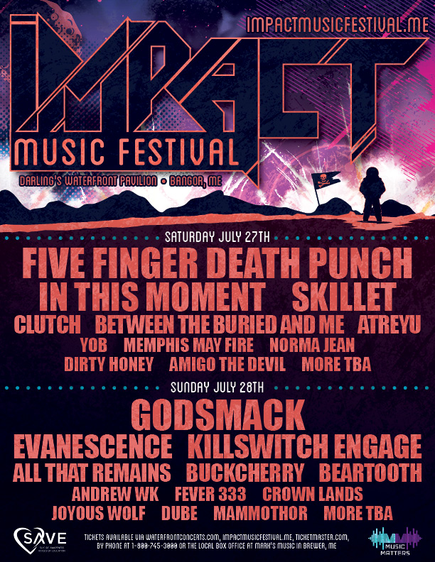 Festival poster for the Impact Music Festival listing the performing bands.