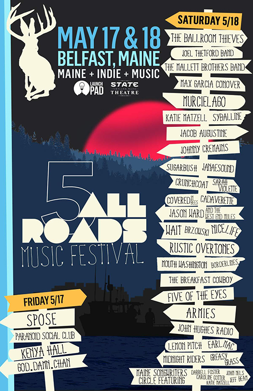 2019 All Roads Music Festival poster with full listing of performers.