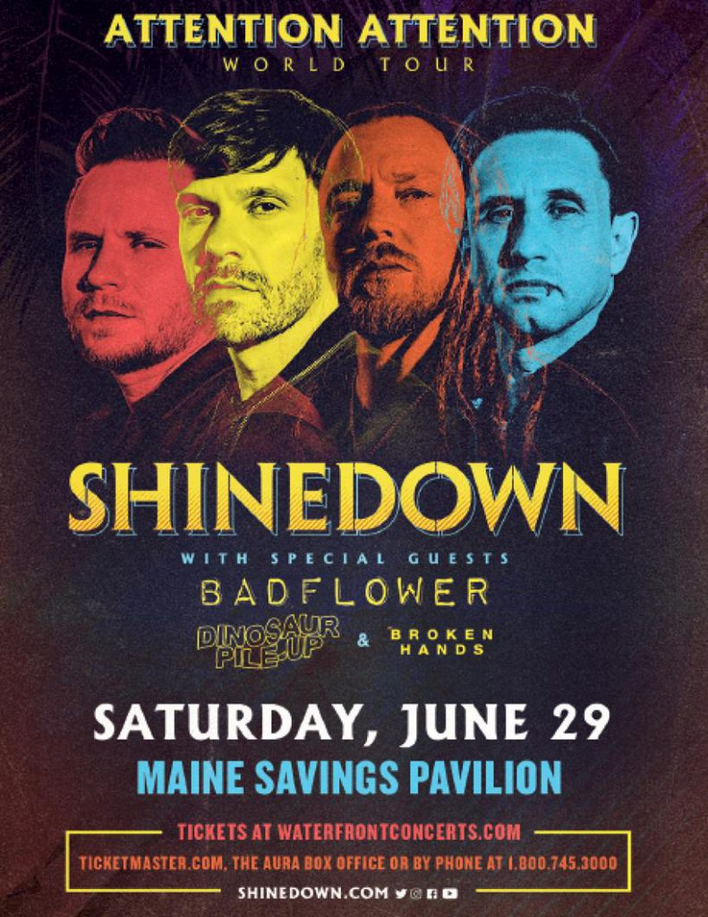 Poster for Shinedown tour stop in Westbrook, Maine on June 29th, 2019.