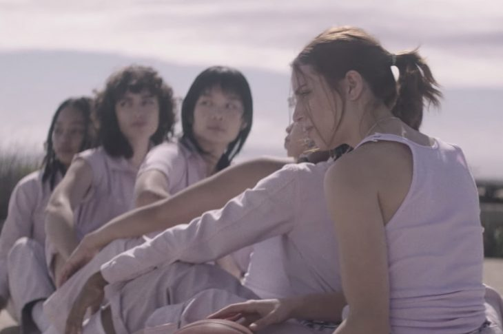 music video screen capture of women playing basketball
