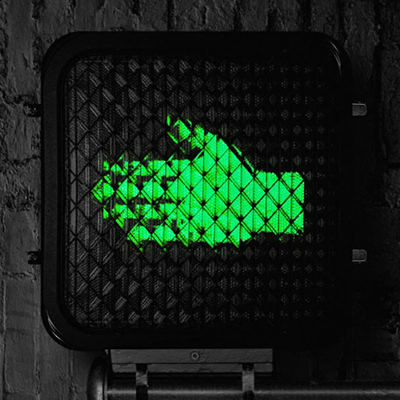 Help Us Stranger album art. Crosswalk signal with sideways green hand