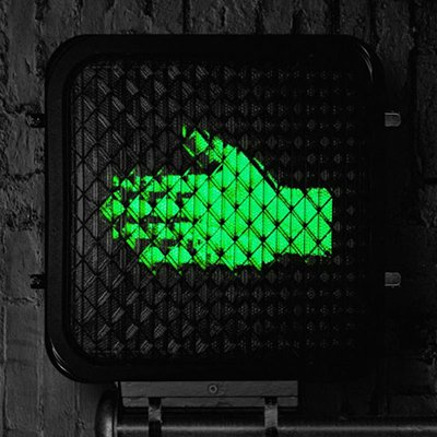 Help Us Stranger Album Artwork. Crosswalk Signal with green sideways hand.