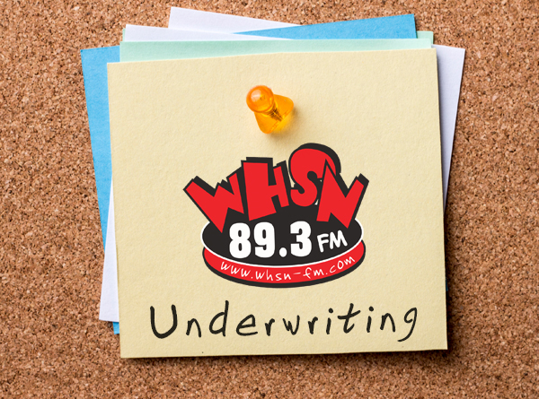 Underwriting image. WHSN Logo on post note
