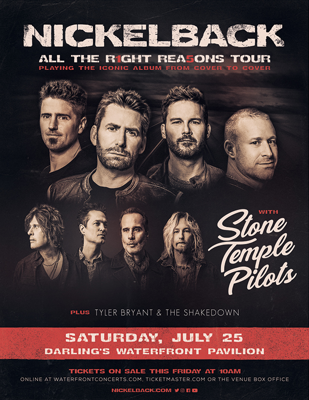 Nickelback tour poster with photos of Nickelback and Stone Temple Pilots