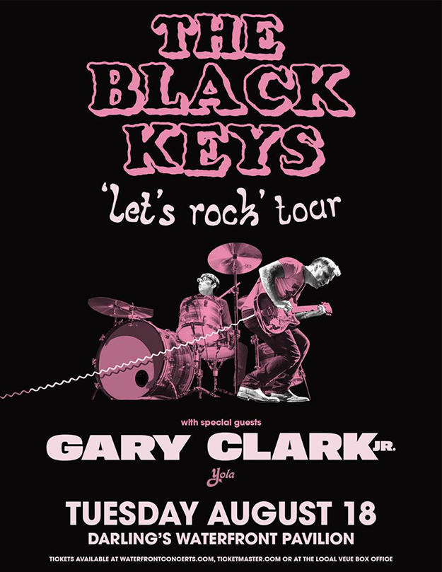 The Black Keys Let's Rock Tour poster. Black and pink photo of Dan Auerback and Patrick Carney performing.