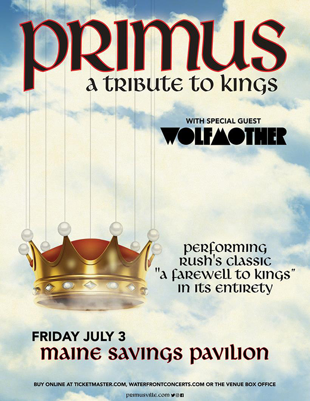 Primus A Tribute To Kings tour poster for July 3rd, 2020 in Westbrook, Maine. Illustration of a crown suspended by wires on a background of clouds.