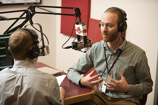 Nick Langile speaking with Brian Hinrichs of the Bangor Symphony Orchestra in the WHSN studios.
