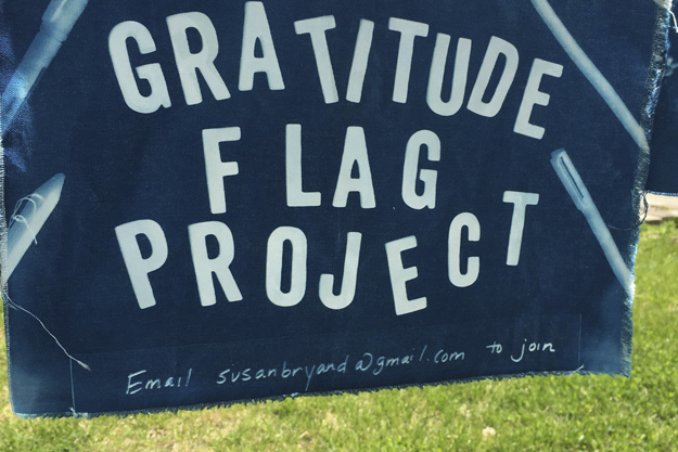Gratitude Flag Project - Blue flag with project name