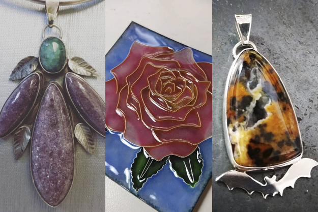 3 pieces of jewelry art by Amanda Coburn.