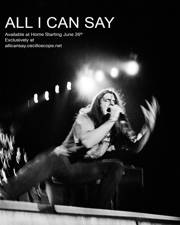All I Can Say poster. Black and White photo of Shannon Hoon performing on stage.