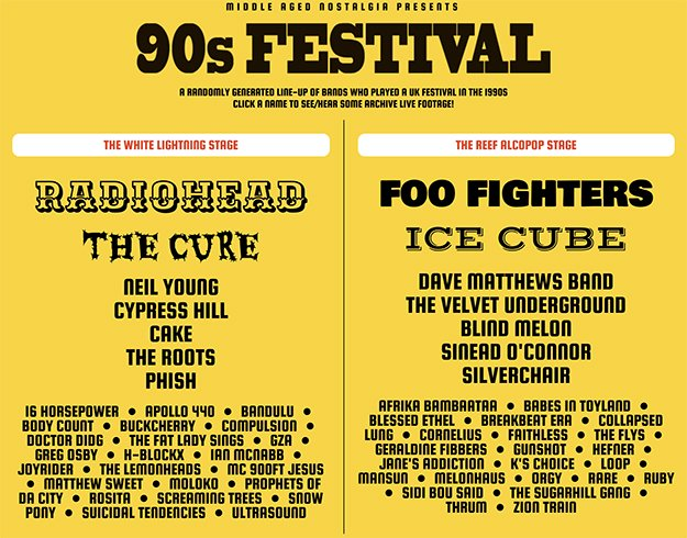 festival lineup of randomly generated bands from the 1990s.
