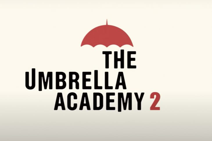 Umbrella Academy logo. Black text with red umbrella