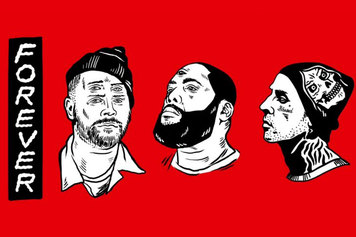artist renderings of faces of Run The Jewels and Travis Barker
