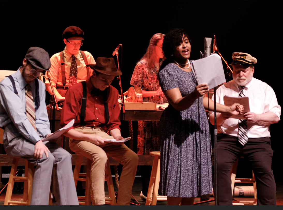 cast of the 2019 Edgar Allan Poe Radio Drama on stage at the Gracie Theatre.