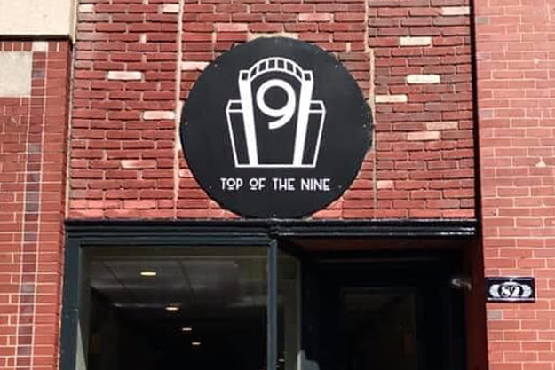 photo of building front /  marquee for Top Of The Nine in downtown Bangor