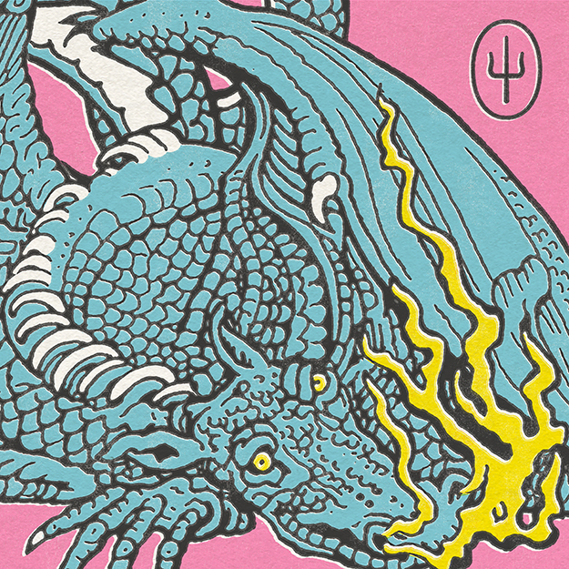 Scaled and Icy album artwork. Drawing of blue dragon on pink background.