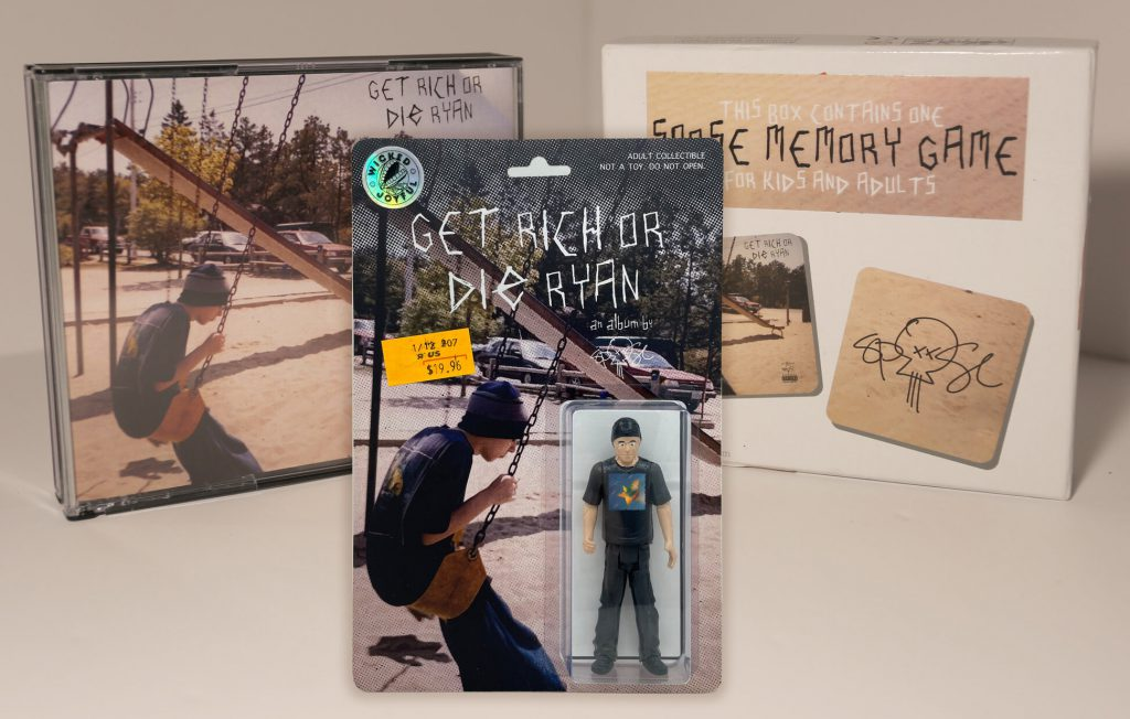 deluxe edition of Spose album Get Rich or Die Ryan including physical CD, memory game, and action figure.