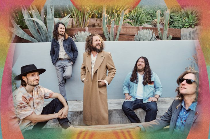 photo of My Morning Jacket members on a patio by Austin Nelson
