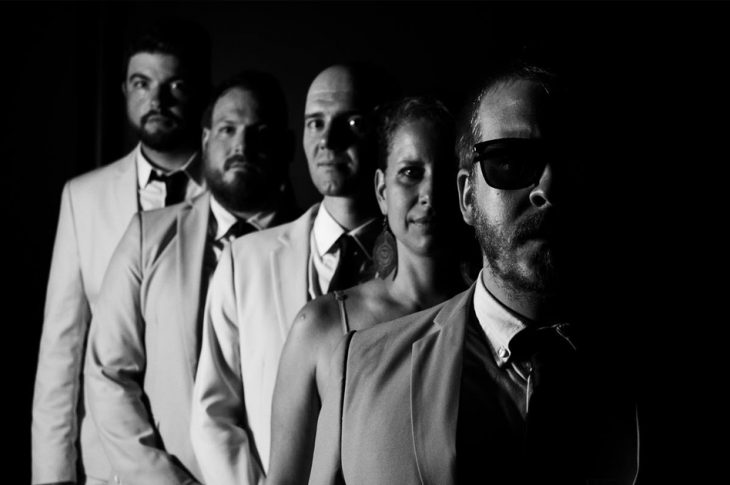 black and white photo of Grand Hotel band members by Dominic Lavoie