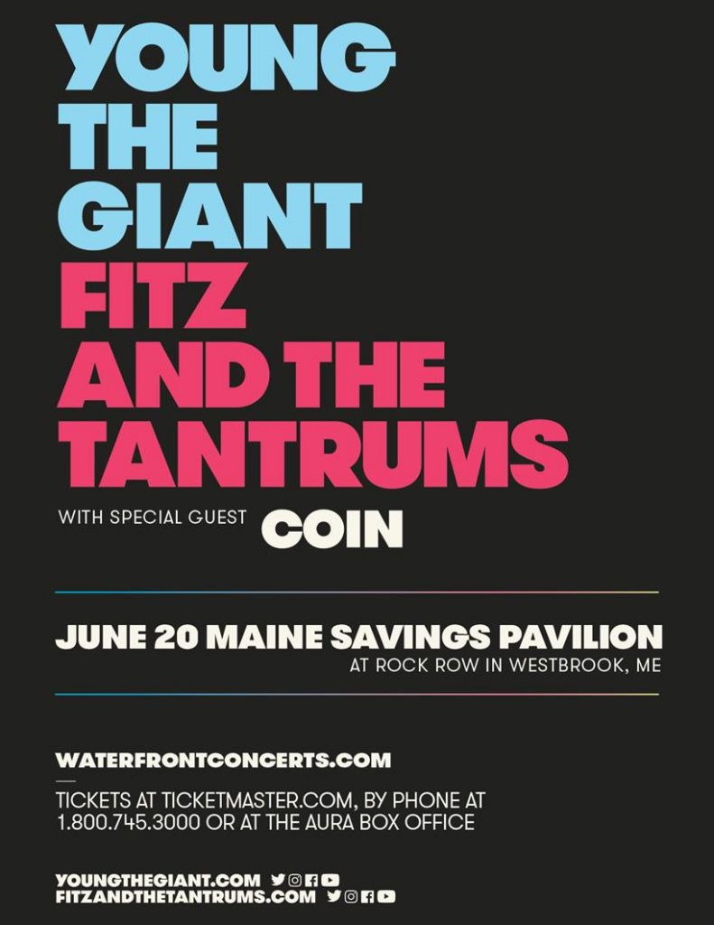 Tour poster for the Young The Giant show. Block letters on solid black background.