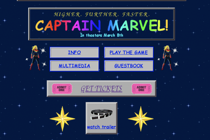 Screen capture from Captain Marvel website