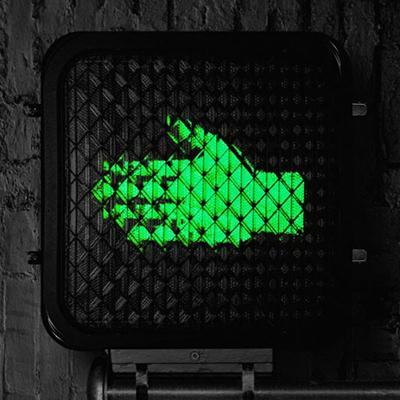 Help Us Stranger album art. Crosswalk signal with sideways green hand