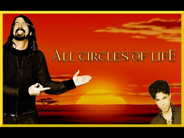 Dave Grohl and Prince in from of Lion King background.