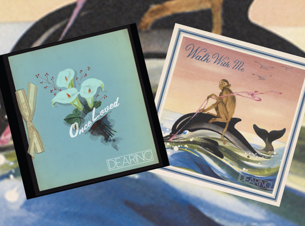 Dearing album artwork. Flowers and a monkey riding a dolphin.