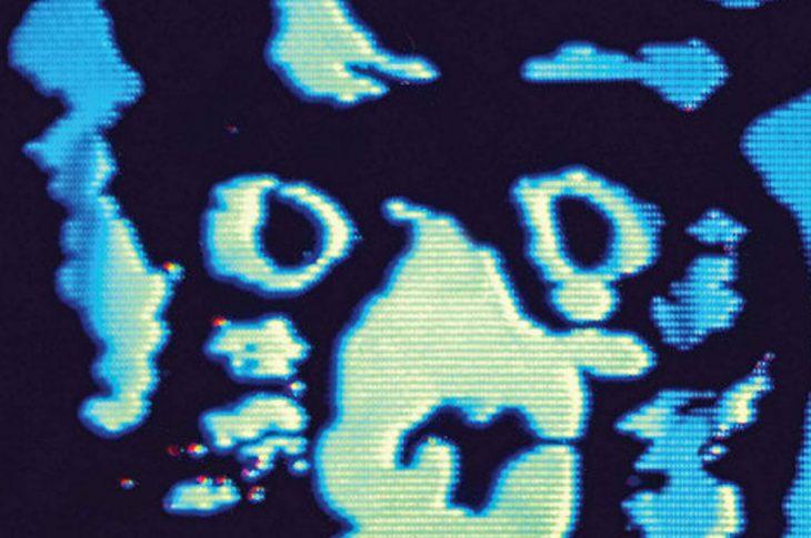 R.E.M. Monster 25 album artwork - Video screen of cat face