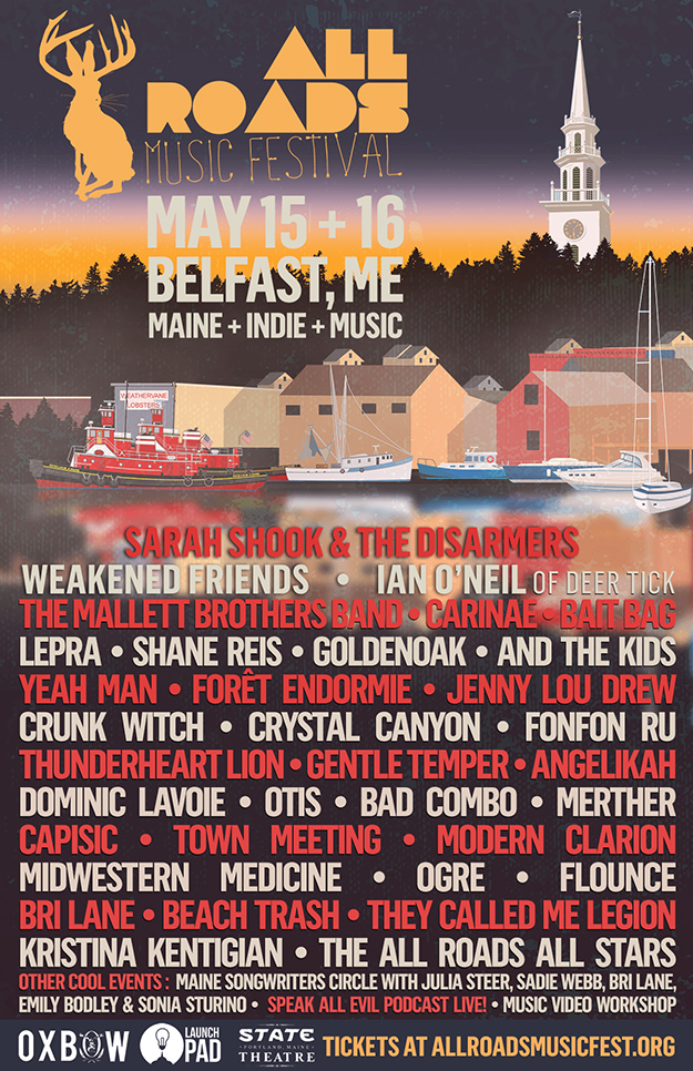 All Roads Music Festival 2020 text list of performers over illustration of Belfast harbor.
