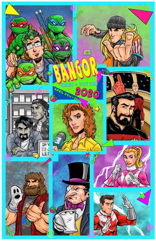 artist rendering of celebrity guests attending the 2020 Bangor Comic & Toy Convention.