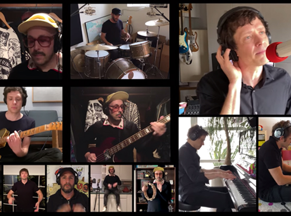 OK Go All Together Now artwork. Screen captures of the 4 members of the band recording in their homes