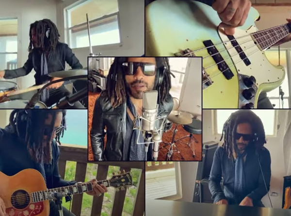 Lenny Kravitz performing guitar, drums, bass, keys, and vocals for the song Believe