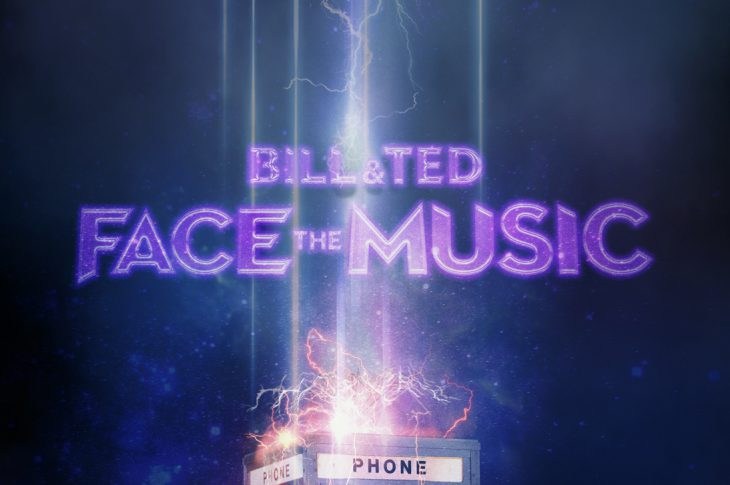 Bill & Ted Face The Music Soundtrack Cover art. Purple text and Phone booth