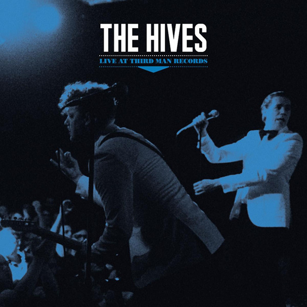 The Hives Live At Third Man Records album artwork blue image of the band  performing at Third Man records in white suits.
