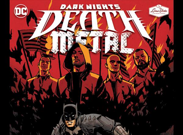 Comic book version of band members with Batman