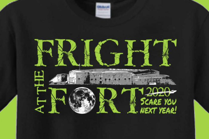 Fright At The Fort Design on Black T Shirt