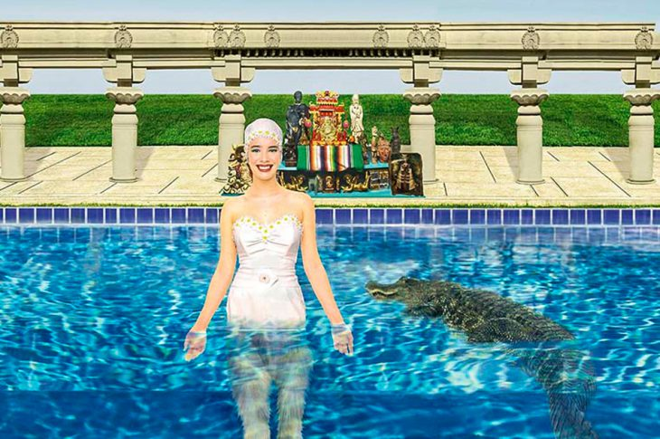 Tiny Music album artwork. Woman in bathing suit and cap standing in pool with aligator.